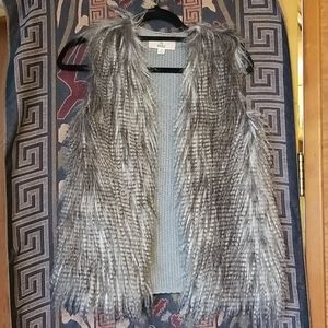 Sweater faux feather vest- awesome